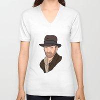 indiana jones V-neck T-shirts featuring Indiana Jones by Rachel Barrett