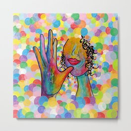 ASL for MOTHER on a Bright Bubble Background Metal Print