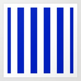 Cobalt Blue and White Wide Circus Tent Stripe Art Print