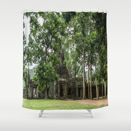 Terrace of Elephants Gate at Angkor Thom, Siem Reap, Cambodia Shower Curtain