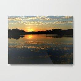 Beautiful Orange Sunset Over Lake Metal Print