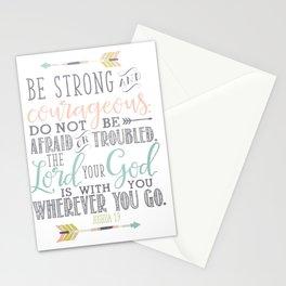 Joshua 1:9 Christian Bible Verse Typography Design Stationery Cards