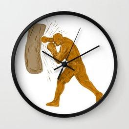 Boxer Punching Bag Drawing Wall Clock
