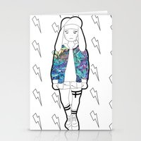 holographic Stationery Cards featuring Bunny Belle / Holographic by Millicent A Venton