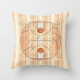 Basketball Court with Basketballs Throw Pillow