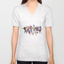 It is not the size of a person but the size of the heart that matters :) Unisex V-Neck