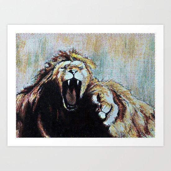 Two Lions, Pastel to Pop Art Art Print