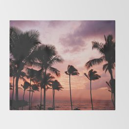 Palm Tree Sunset Throw Blanket