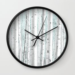 Pale Birch and Blue Wall Clock