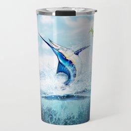 Blue Marlin Jumping After Mahi-Mahi (dolphin fish) Travel Mug