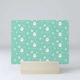 Cute Samoyed Dog Holiday Pattern (mint)  Mini Art Print