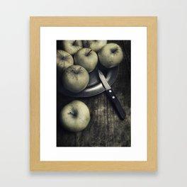 Still life with green apples Framed Art Print