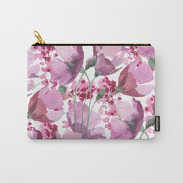 Watercolor lavender pink hand painted floral Carry-All Pouch
