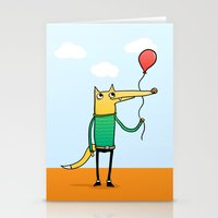baloon Stationery Cards featuring Fox & Baloon by Pedro Vilas Boas