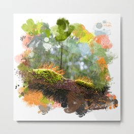 Beautiful abstract painted rain forest moss Metal Print