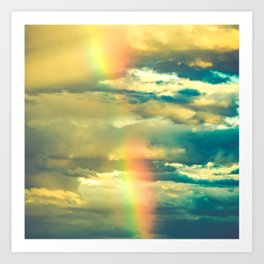 Rainbow Blue Sky Clouds Art Print