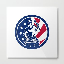 American Farrier USA Flag Icon Metal Print
