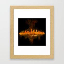 Cleveland City Skyline Hq V4 Framed Art Print