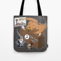 middle earth Tote Bags featuring Middle Earth Travels by souldroid