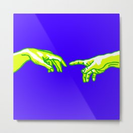 "Michelangelo ""Creation of Adam""(detail)(edited) 5. Metal Print"