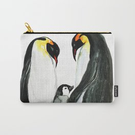 Penguin family watercolor Carry-All Pouch