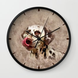 Watercolor Cute Dalmatian Wall Clock