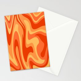Mid Century Modern Liquid Fire Abstract // Red, Orange, Mustard Yellow Stationery Cards