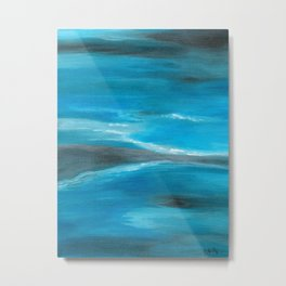 Blue Abstract Art In the Middle of the Ocean Metal Print