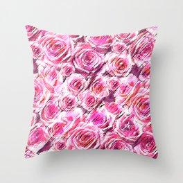 Textured Roses Pink Amanya Design Throw Pillow