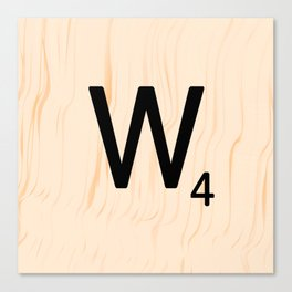 Scrabble Letter W - Scrabble Art and Apparel Canvas Print