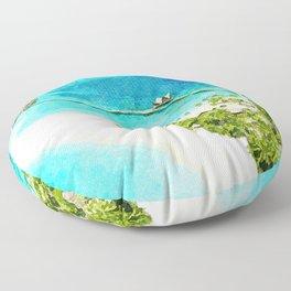 Watercolor Maldives Resort Floor Pillow