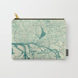 Hamburg Map Blue Vintage Carry-All Pouch