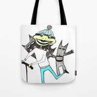 sport Tote Bags featuring Sport frog by KRADA ZHAN ART