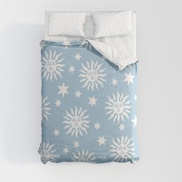 Mid Century Modern Sun and Star Pattern Pale Blue Comforters