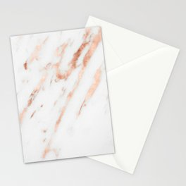 Pink Quartz Marble Rose Gold White Stationery Cards