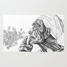 Geometric Graphic Black and White Smoker Drawing Rug