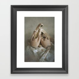 Creamy pointe ballet shoes Framed Art Print