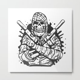 Military skull with guns Metal Print
