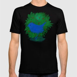 Blue bird and shrub watercolor painting T-shirt