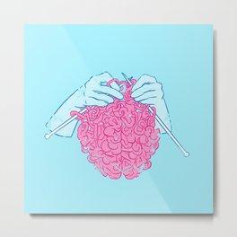 Knitting a brain Metal Print