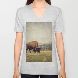 Bison Land Unisex V-Neck