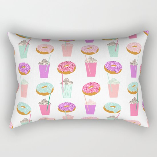 Coffee and Donuts pastel pink mint cute pattern gifts for valentines day love Rectangular Pillow