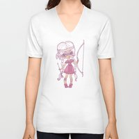 bows V-neck T-shirts featuring Bows and Arrows by tsai-fi