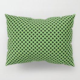 Green Flash and Black Polka Dots Pillow Sham