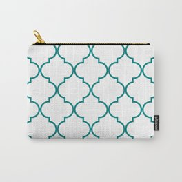 Quatrefoil - Teal on White - larger Carry-All Pouch