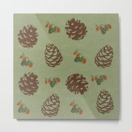 pinecones and forest berries green Metal Print