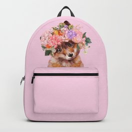 Baby fox with Flower Crown Backpack
