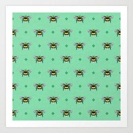 Bumblebees on Spearmint Art Print