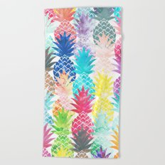 Hawaiian Pineapple Pattern Tropical Watercolor Beach Towel