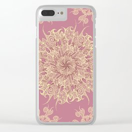 Oriental Tattoo Mandala gold on rose pink Clear iPhone Case